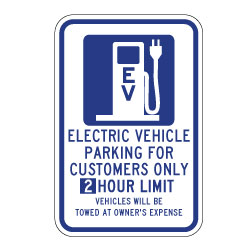 2 hour electronic vehicle parking only sign image