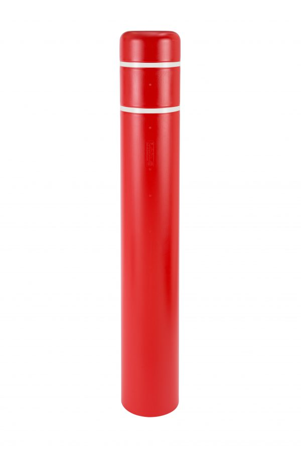 image of a red bollard and white stripes