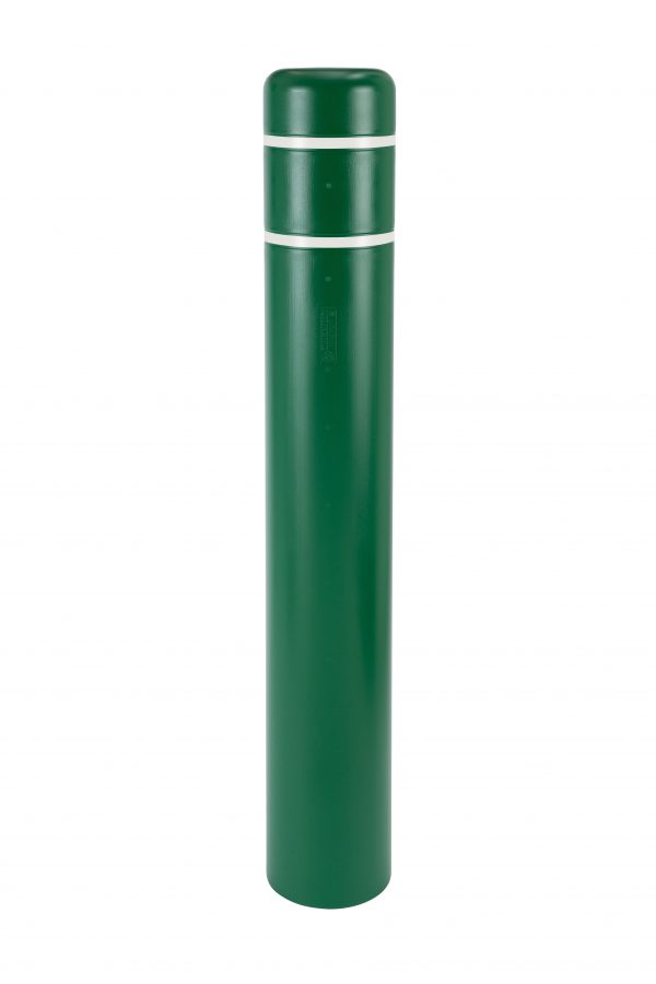 image of a green bollard and white stripes