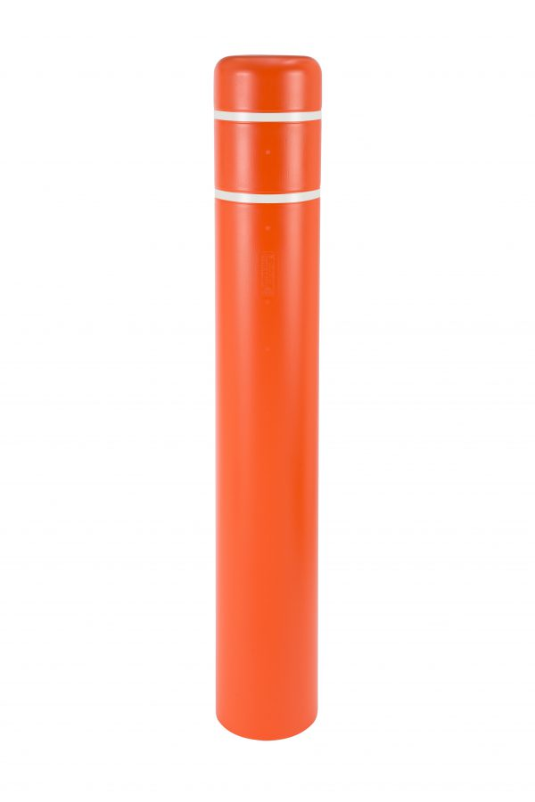 image of an orange bollard and white stripes
