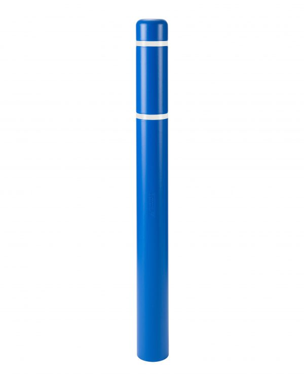 image of a blue bollard and white stripes