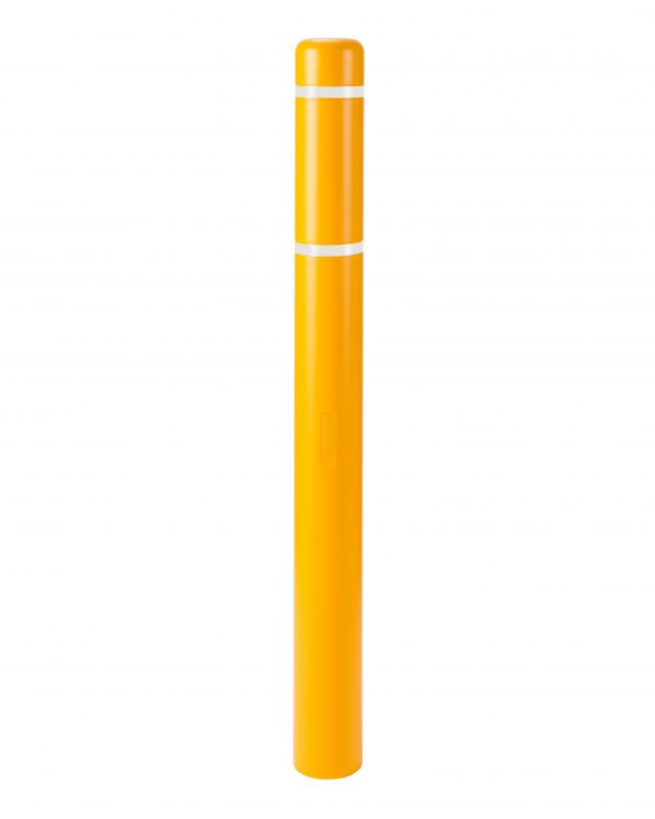 image of a yellow bollard and white stripes