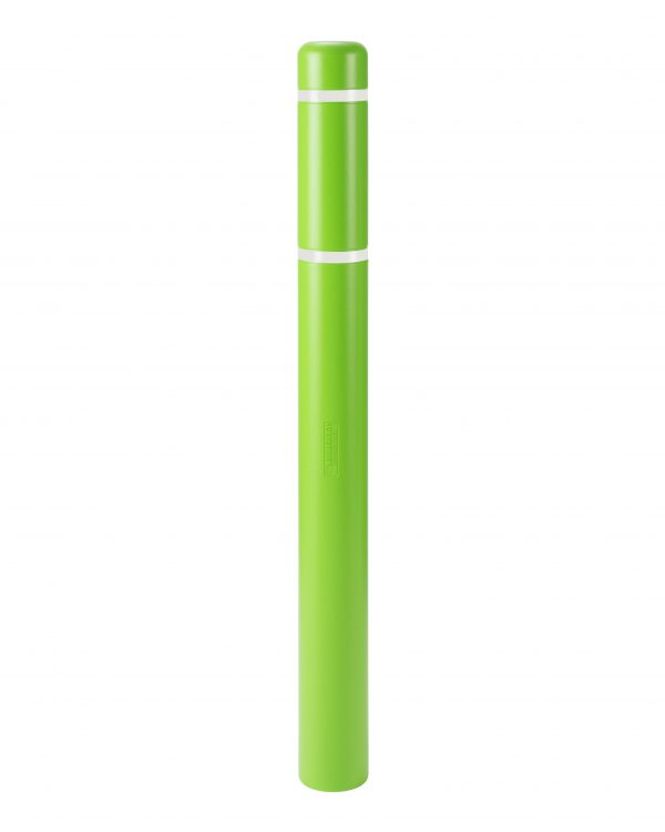 image of a light green bollard and white stripes