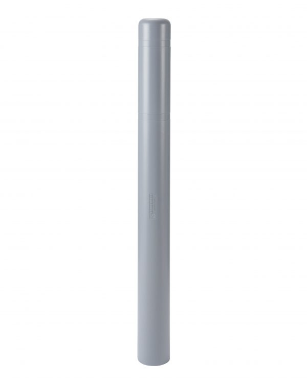 image of a gray bollard no stripes