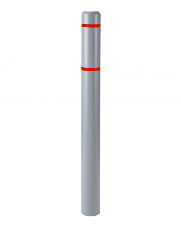 image of a gray bollard and red stripes