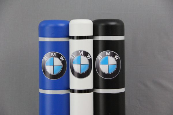 Photo of bollard covers with BMW logo