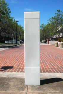 photo of a blank media bollard