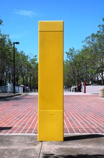 Blank Yellow media bollard photo