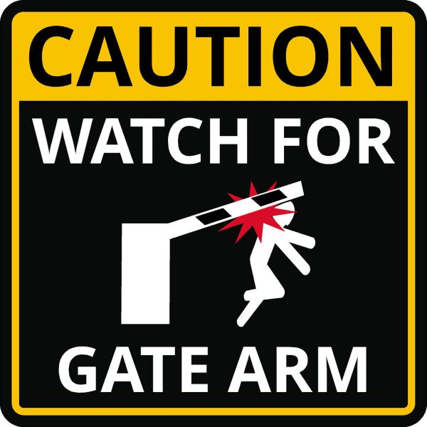 Caution gate arm warning sign image