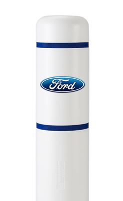 image of a white bollard blue stripes and ford logo