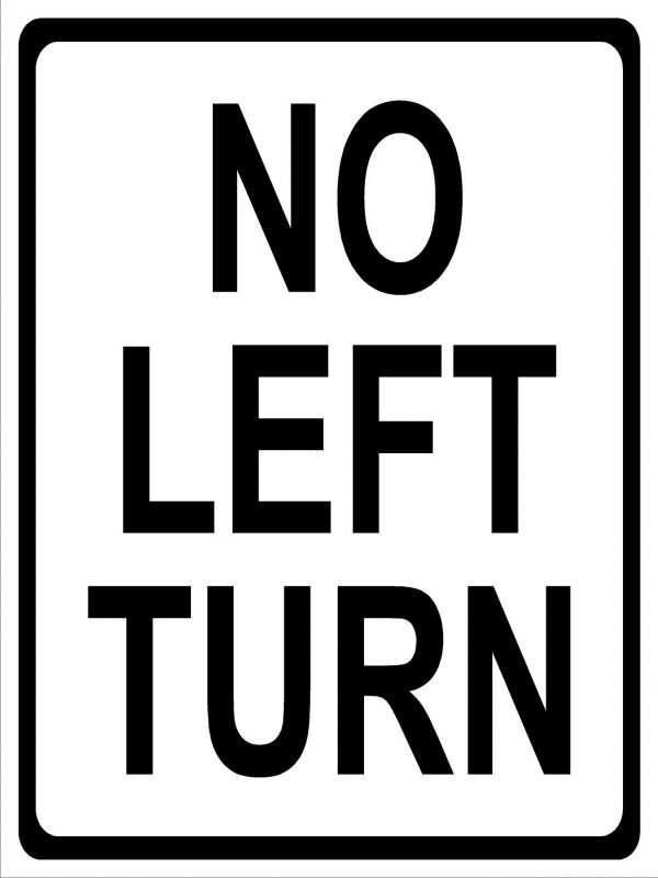 No left turn sign image