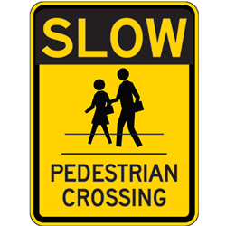 Slow pedestrian crossing sign image