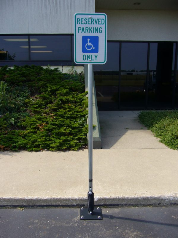 Photo of a handicap sign in a post