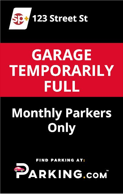 Garage temporarily full sign image