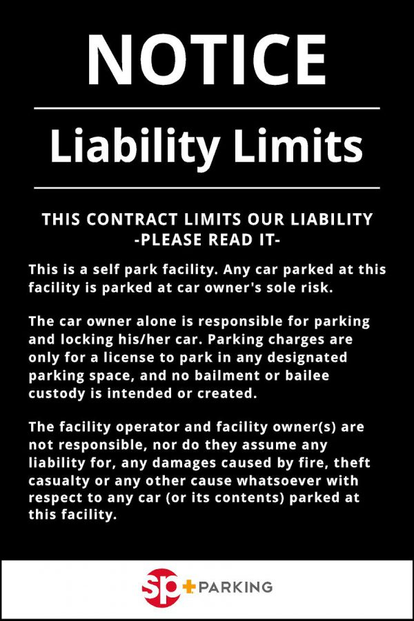 Liability disclaimer self parking sign image
