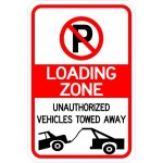 Loading zone tow warning sign image