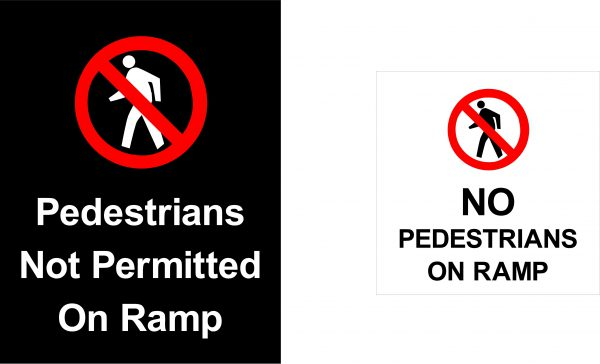 No pedestrians on ramp sign image