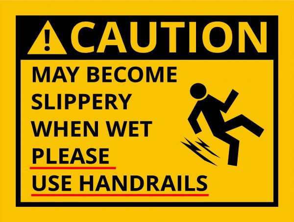 Slippery when wet sign image